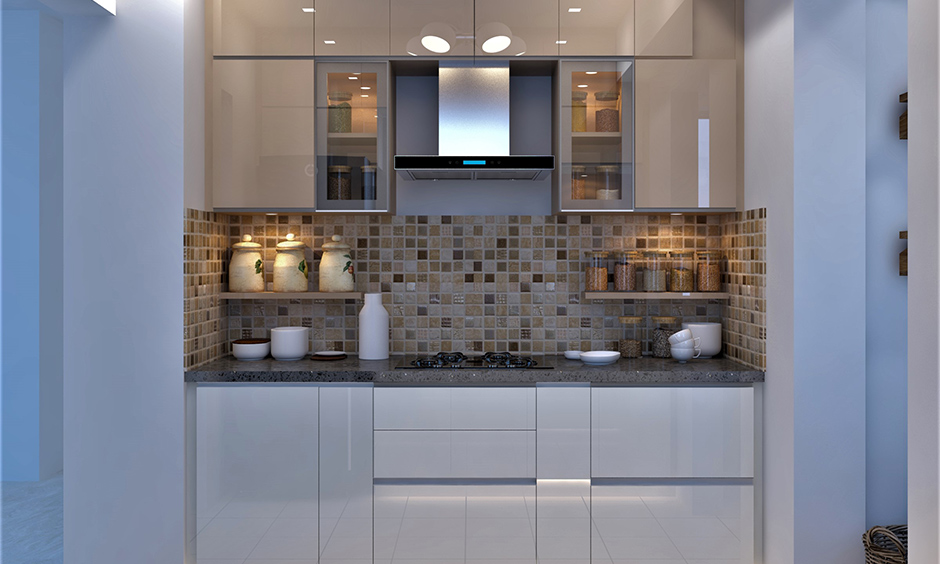 Showcase-style kitchen cabinet storage idea has glass cabinets and a pair of side shelves in a small white kitchen.
