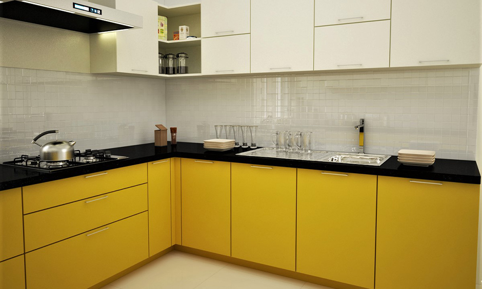The upper corner kitchen cabinet storage idea without a door makes efficient use of space in the l-shaped kitchen.