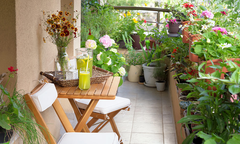 Indian home garden ideas, Balcony nook with portable chair and table set surround by potted plants brings a rustic charm.