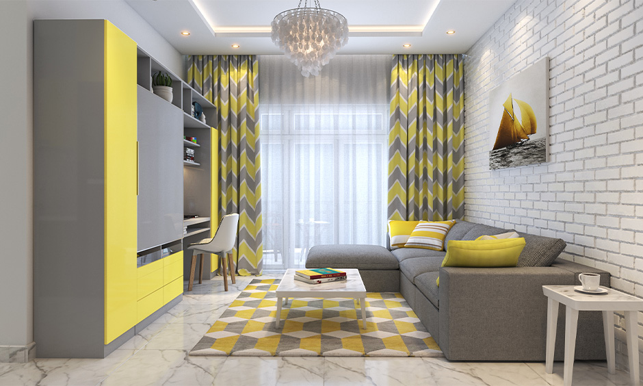 Home colour matching, white living room with yellow and grey combination curtain, tv unit and rug looks bold.