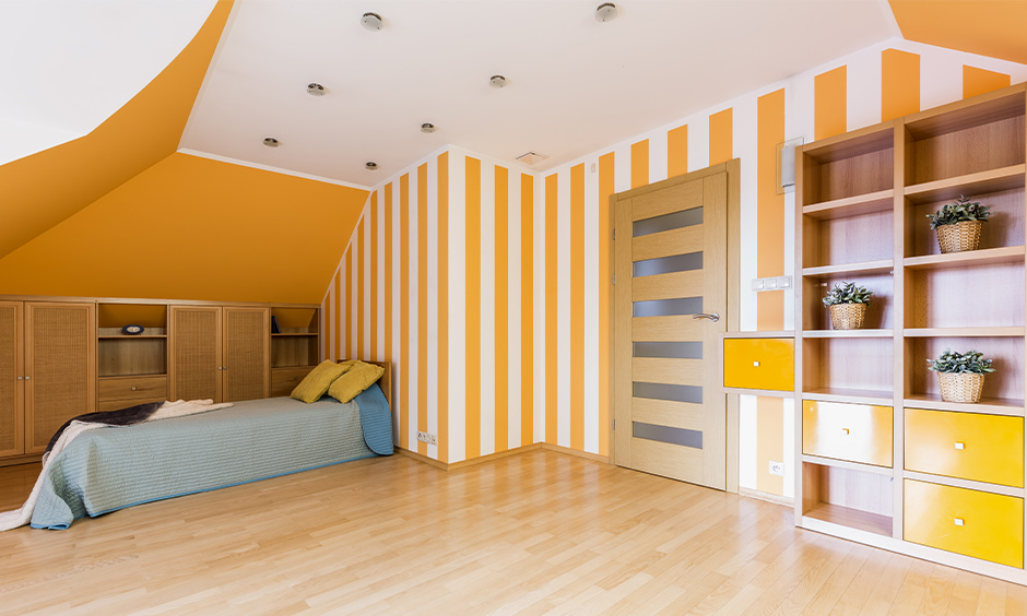 Bedroom home colour matching in yellow and white striped wall design look vivid.