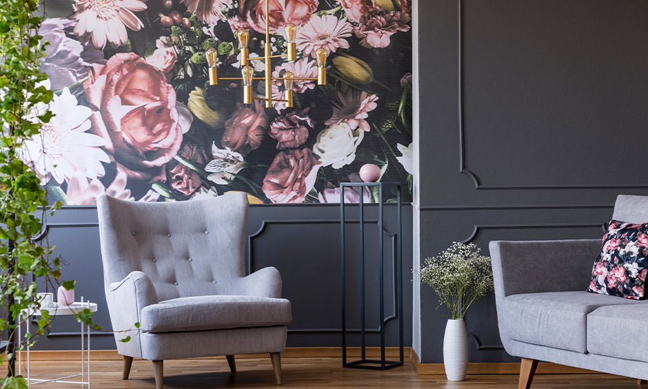 Matching colour schemes home, Dark grey seating area with a colourful floral wallpaper look classy.