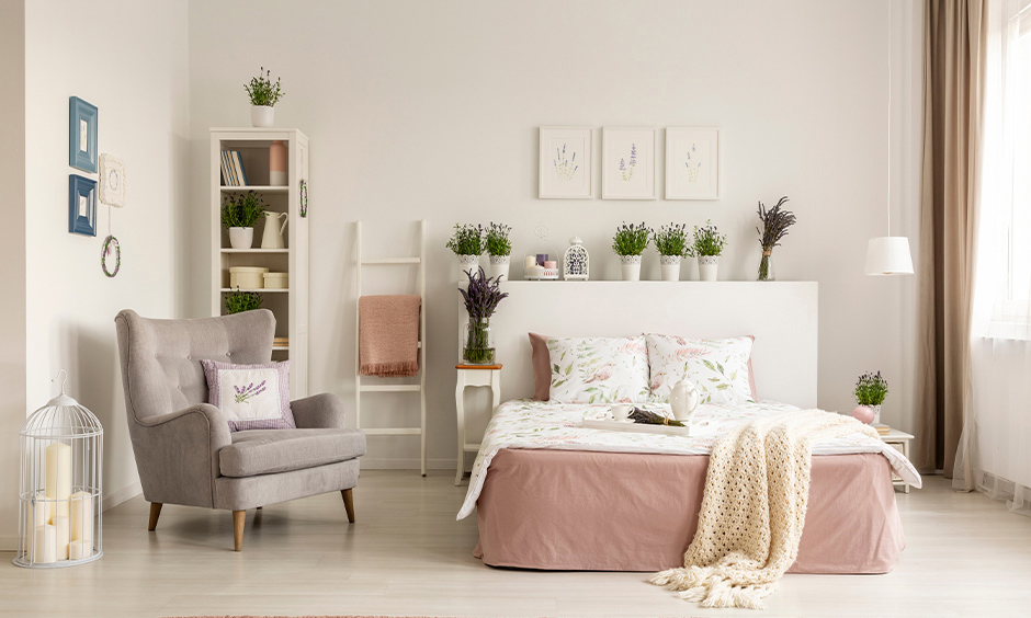 Soft white home colour matching for small bedroom makes the place look airier and less narrow.