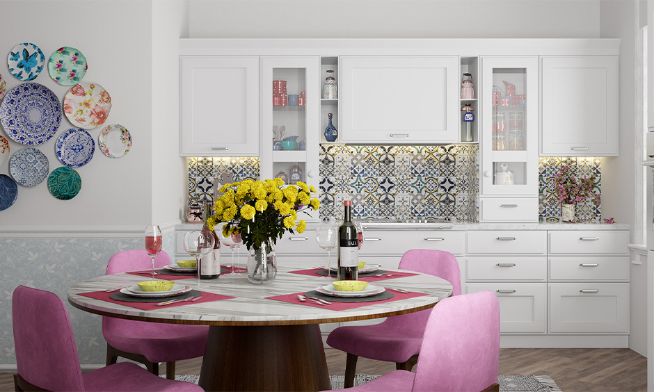 Matching colour schemes home, Kitchen cum dining area in multicolour look vibrant and bold.