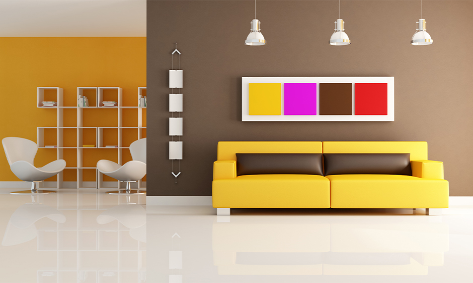 Open living room home colour matching with two different bold colours look elegant.