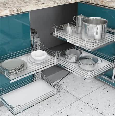 Magic pullout an innovative corner space utilisation, used by best interior designers in Goregaon.