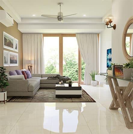 Interior design for 3BHK flat in Hyderabad from luxury interior designers.