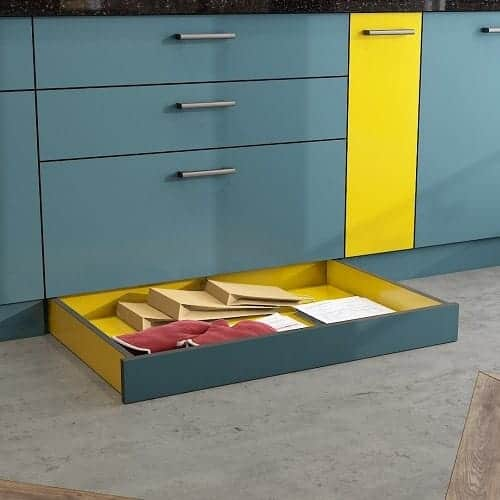 Skirting drawer to save space in kitchen, used by best interior designers in Jubilee Hills