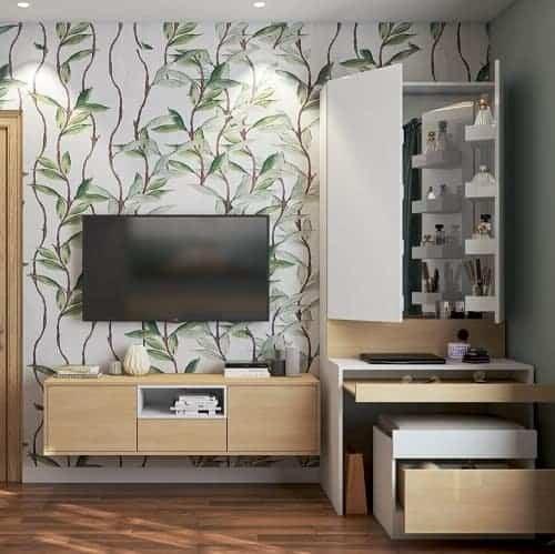 TV unit with a hidden dresser created by best interior designers in Banjara Hills.
