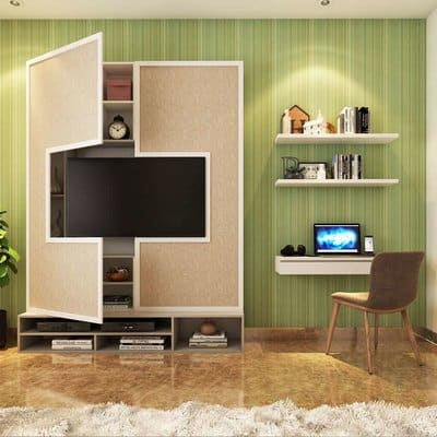 Tv unit with a hidden storage used by best interior designers in Secunderabad.
