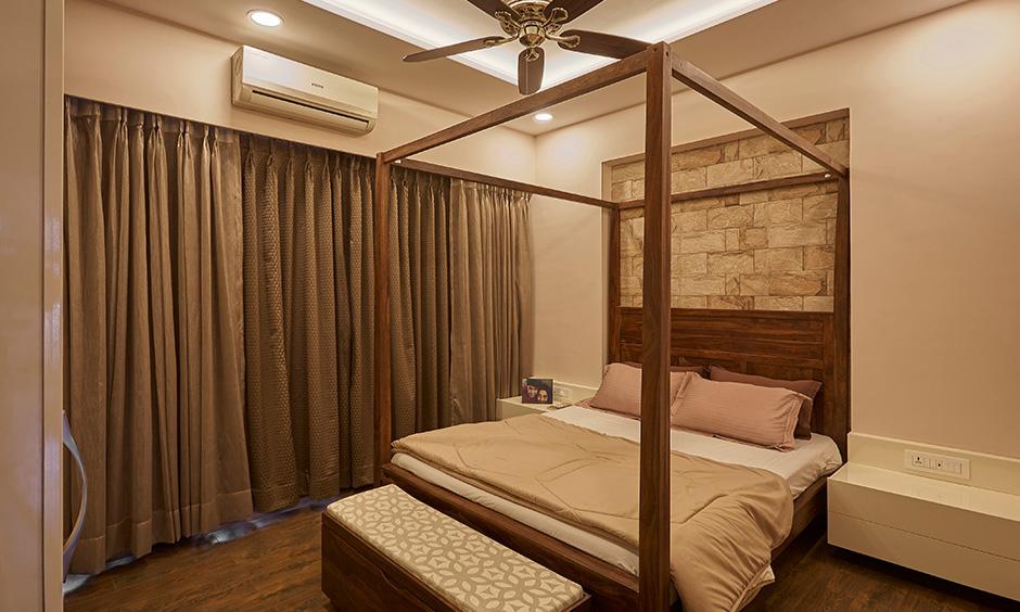 A cosy master bedroom with interior design in navi mumbai