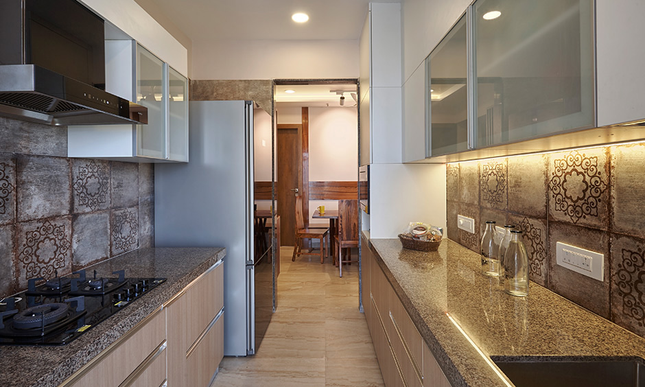 the parallel kitchen for easy cooking by Interior designers for Atlantis mumbai