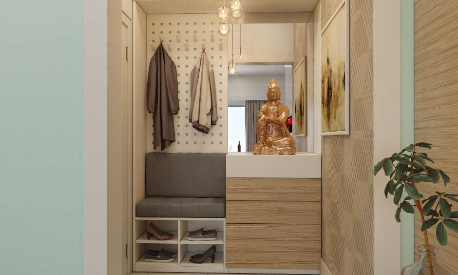 1bhk home interior design with foyer unit with handleless drawers for storage