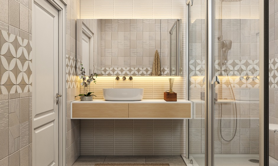 1bhk house bathroom design with sink and floor tiles
