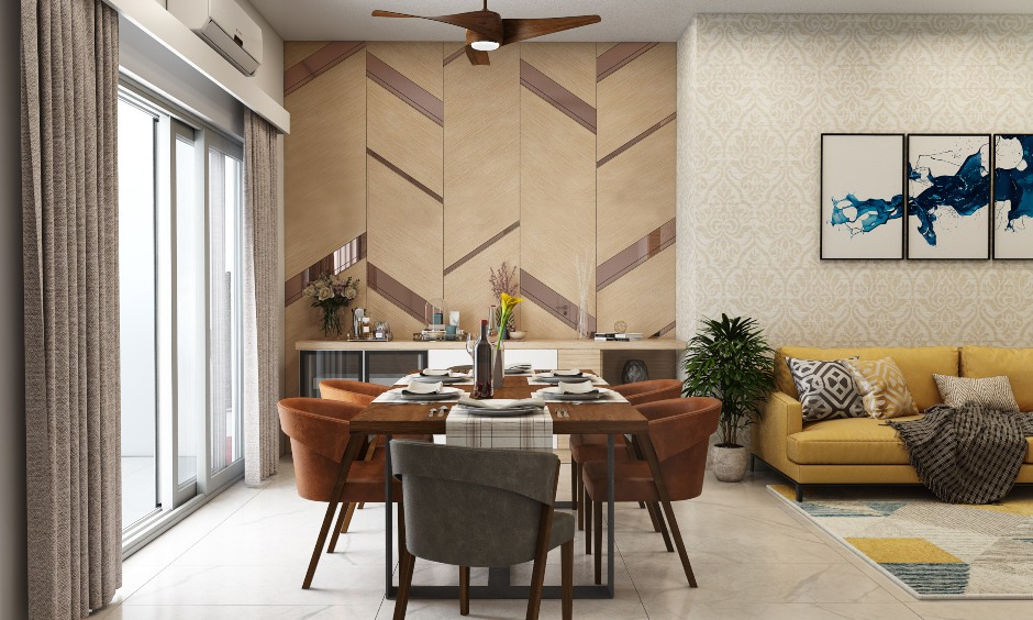 6 seater dinner table in wood finish and bucket chairs for 1bhk house design