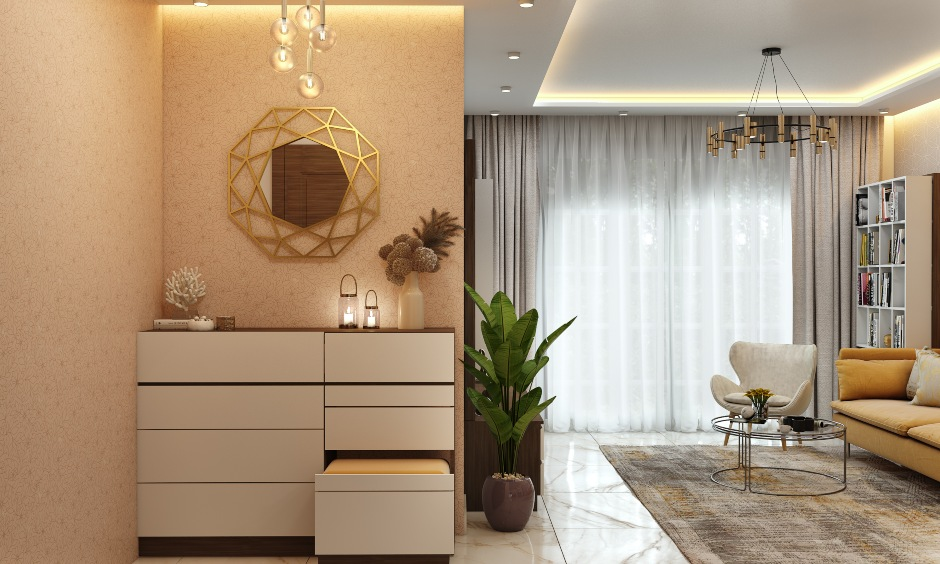1bhk home design with foyer unit with textured wallpaper and pendant lights