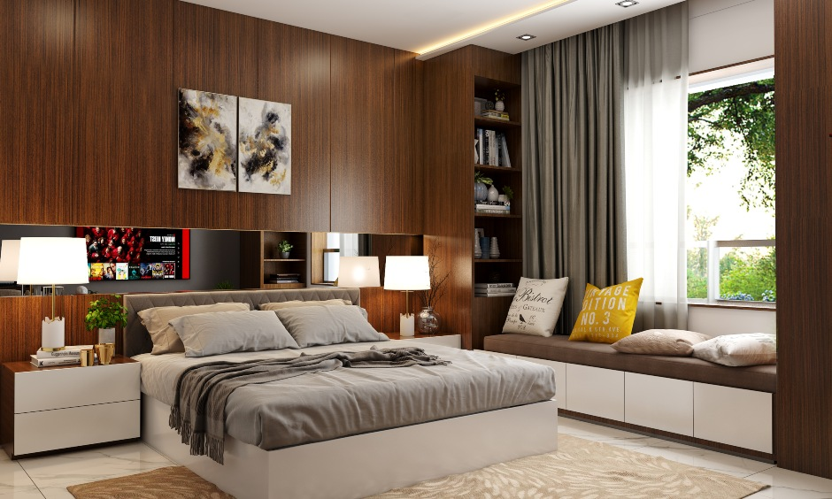1bhk home interiors wit luxurious bedroom with wooden shelves and storage cabinets