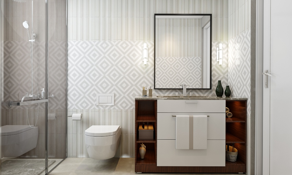 Bathroom design with a vanity unit for 1bhk house design in bengaluru