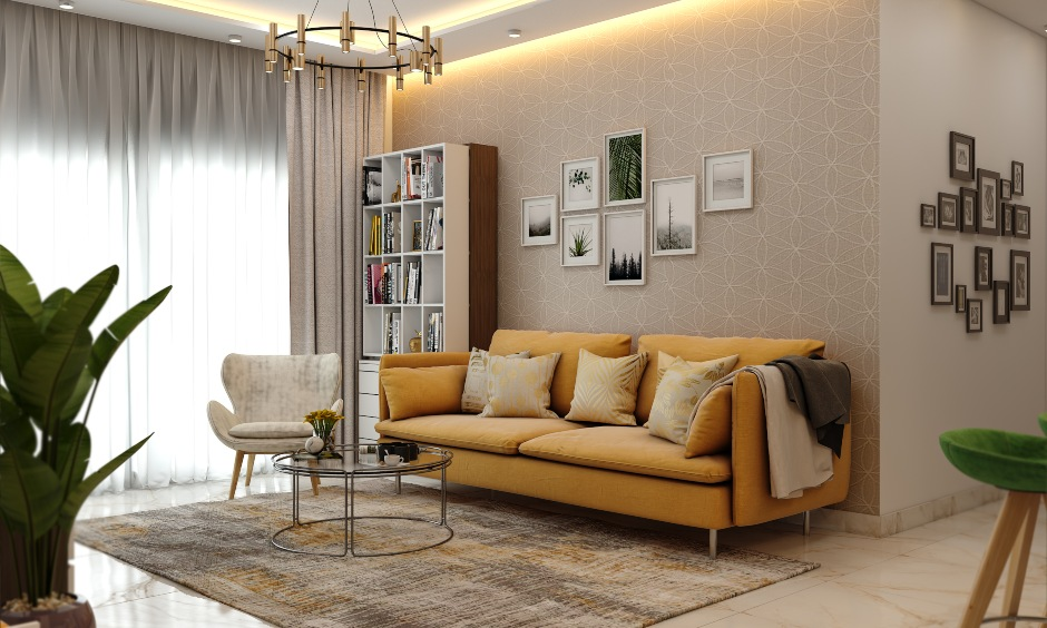 Spacious 1 bhk home design with neutral tones and minimal furniture