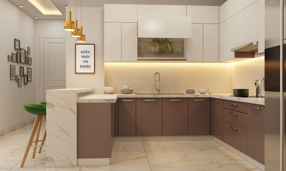 U shaped modular kitchen design in 1bhk house design