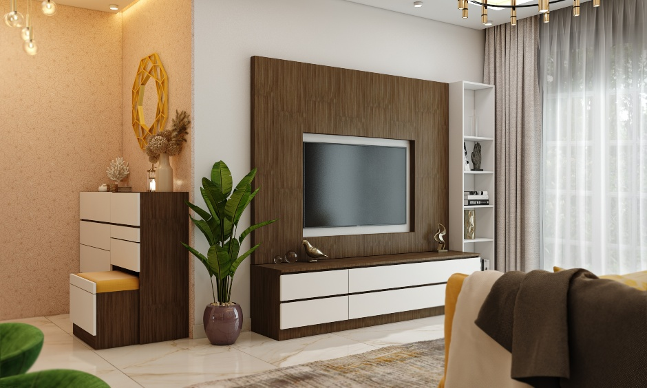 White and dark wood laminate tv unit for 1bhk house design