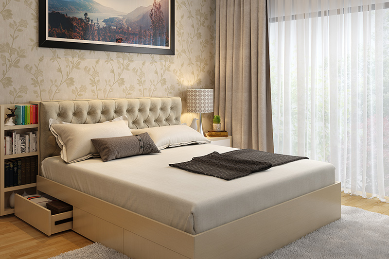 Home renovation for bedroom with floral wallpaper and bed with attached bookshelf is cool bedroom renovation.