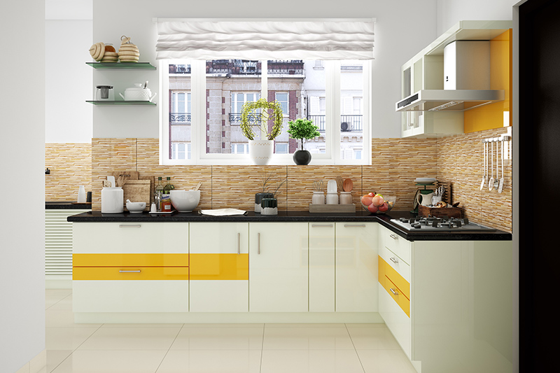 Kitchen renovation ideas, an l-shaped kitchen has cabinets with laminates, backsplash and countertop contemporary look.