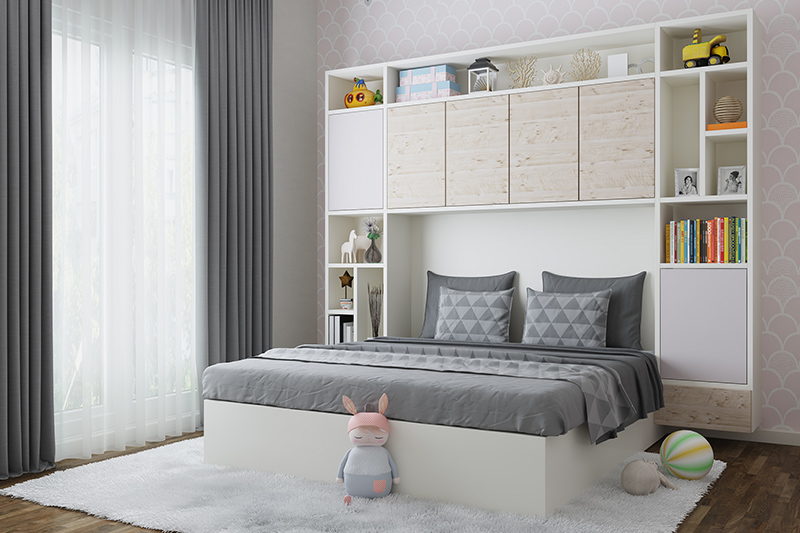 House renovation for kids bedroom design with bookshelves attached to the bed and wooden flooring looks elegant.