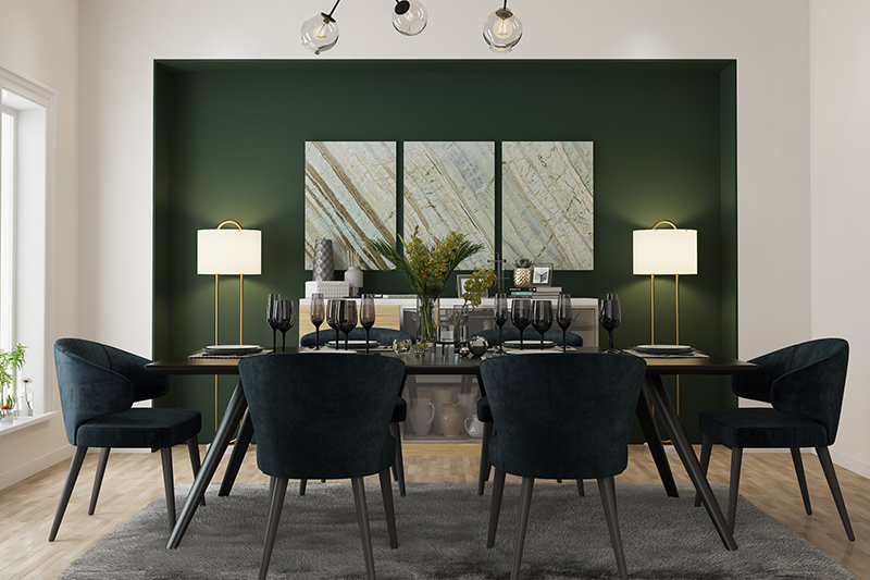 Home renovation ideas for dining room with a pendant light and olive-green accent wall modern.