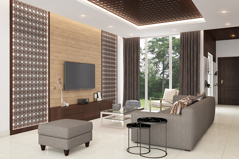 Old house renovation ideas for living room with wooden wall, curtains and lights enhance the look.