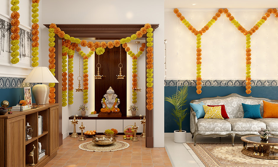 Ugadi pooja room decorated with traditional fresh flowers, garlands and beautiful lamps.