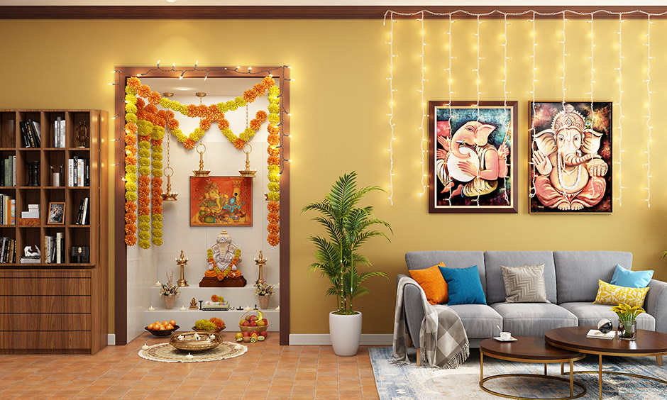 Ugadi home decoration with fairy lights and marigold garlands lends warmth to the area.