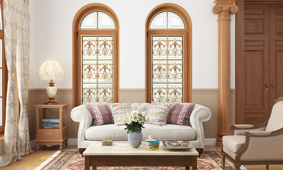 Simple modern window grill design in floral motifs pattern with traditional style in the living room.