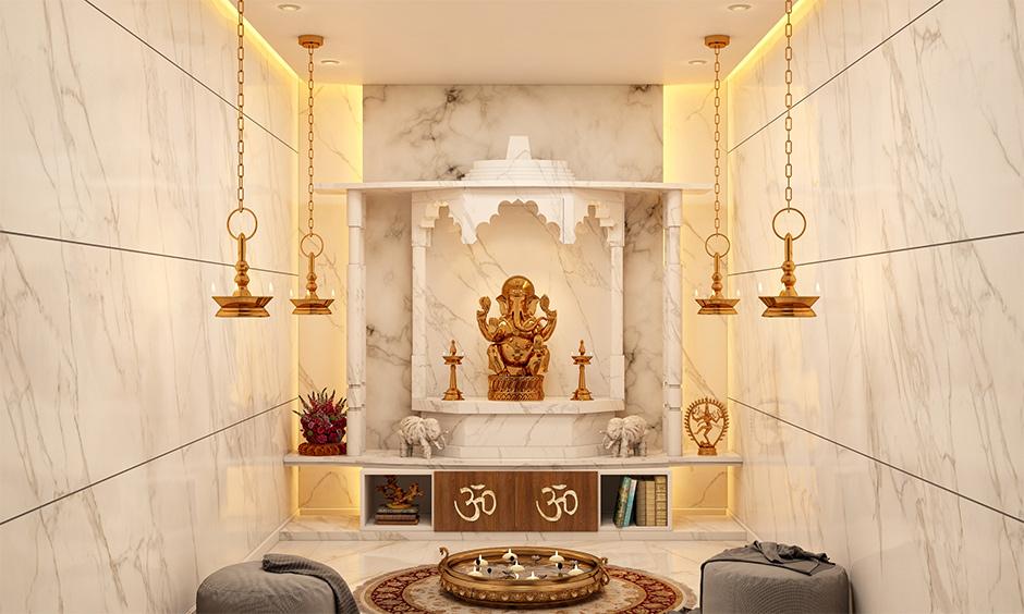 Beautiful marble pooja mandir designs for home