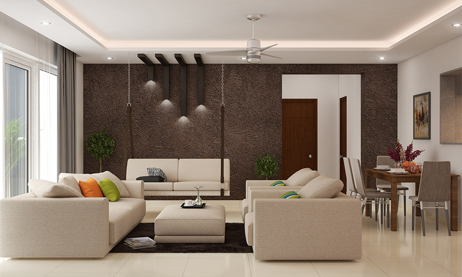 Ceramic living room white floor tiles with a softer surface give a breezy and soothing look to the living room.