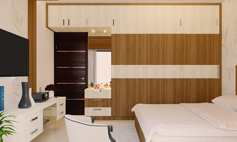Space-saving dressing table design wall mounted with cupboard in the bedroom is a brilliant dressing table.