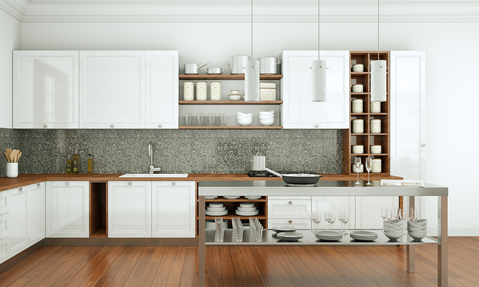 L-shaped kitchen flooring in maple wood laminate design looks gorgeous is the laminate flooring in India.