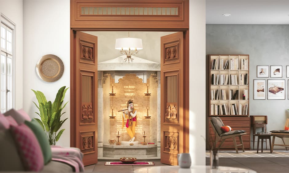 Traditional pooja room designs with accent doors