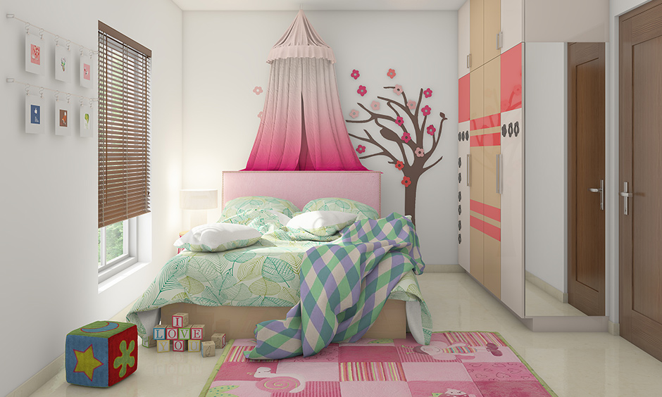 Girl bedroom decorated with decal and paper flowers made from origami on a wall is the best room decor idea for girls DIY.