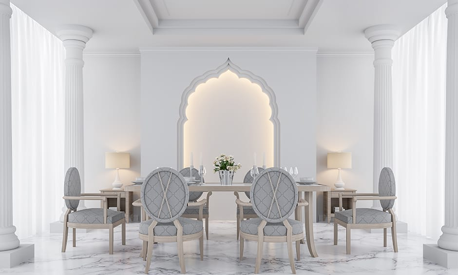 Indian arch design for dining hall