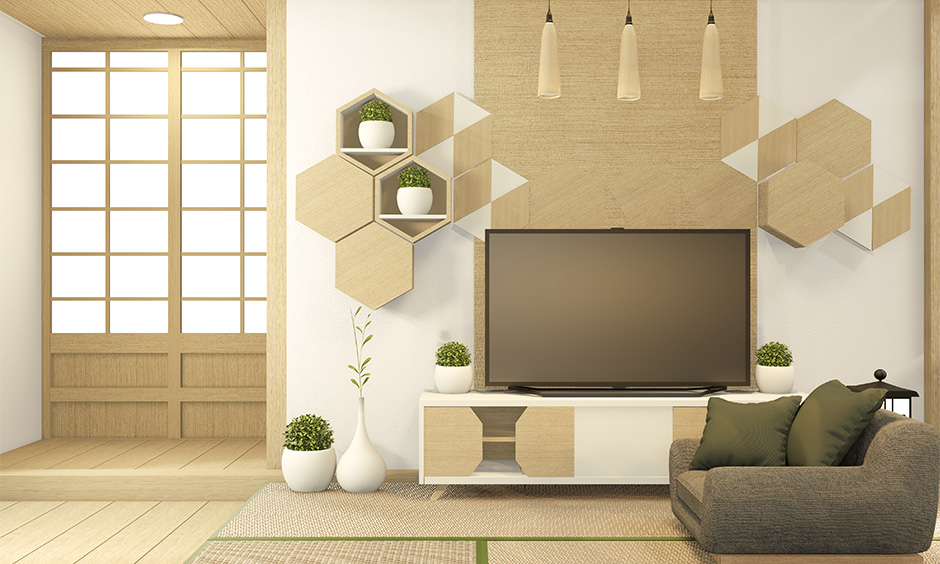 Floating wooden wall showcase design for hall in hexagonal shape adds a fun geometric element to the design.
