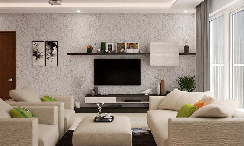Minimalist wooden tv showcase design for hall with single open shelf, combined with a closed cabinet.