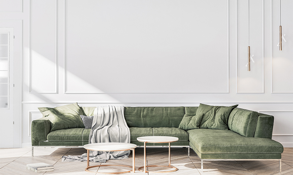 Contemporary l-shaped sofa in sage green colour lends warm earthy shades is the trending sofa designs this 2021.
