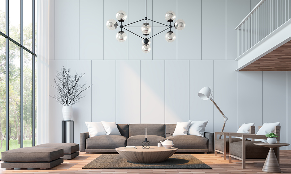 Trending sofa set design, cosy oversized sofa set in dusty brown colour with plush cushions in the living room look elegant.