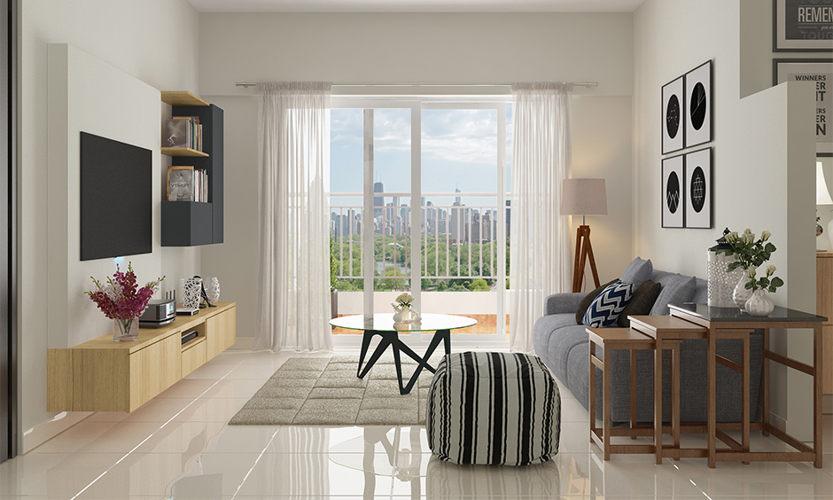 Big window with glass sliding door design for living room in minimal style creates an elegant look.
