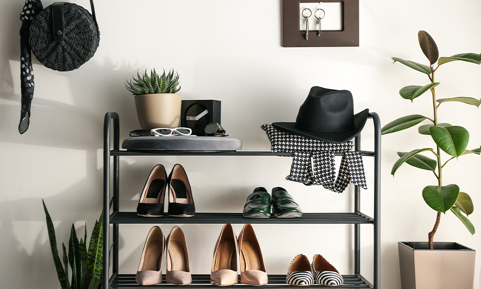 Space-saving shoe rack, A portable metal shoe rack easy to access, and hassle-free design looks neat and tidy.