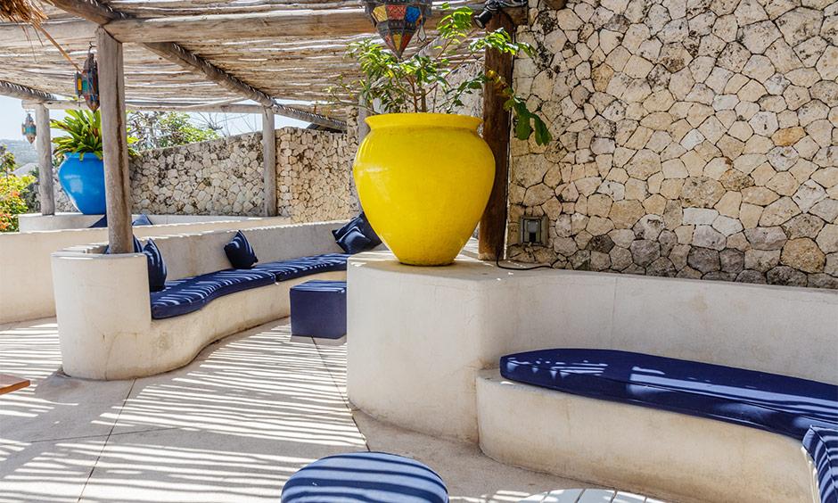 Mediterranean interior design in open rooftop