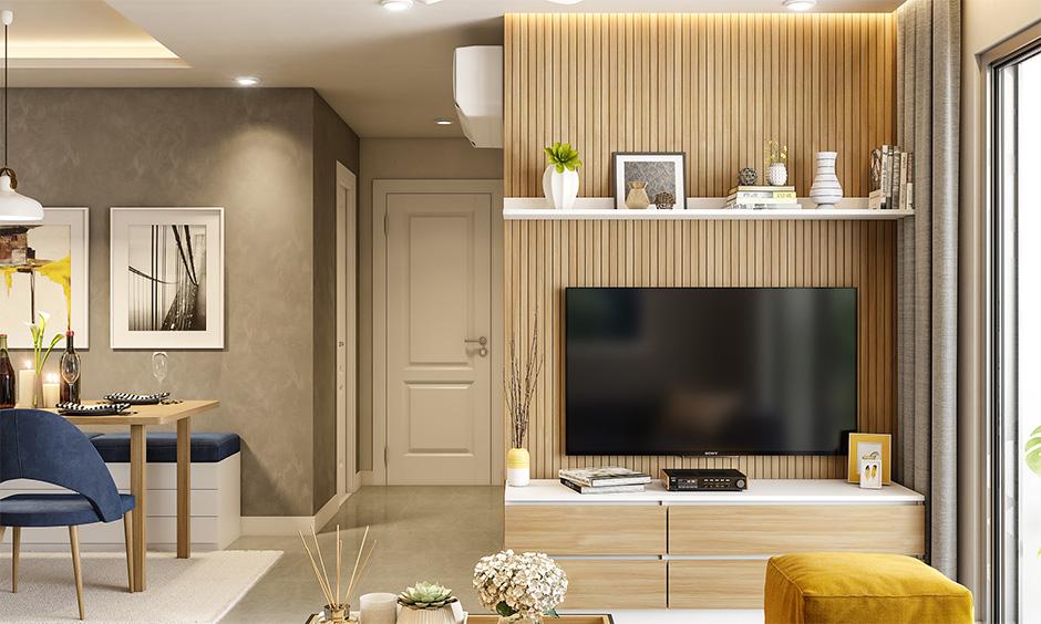 Stunning wooden wall tiles design for living room