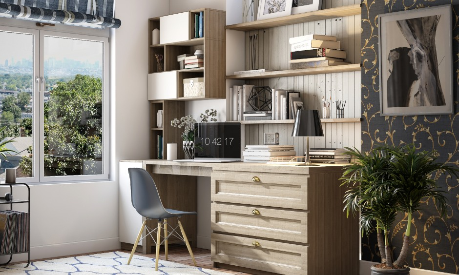 Wooden home office with multiple storage options