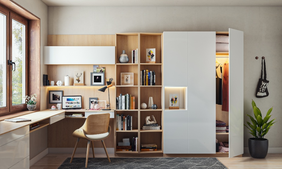 L-shaped home office design with an attahced bookshelf
